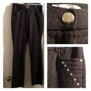 ⬇️Marie Claire Pants-Patterned Rhinestone Stretch